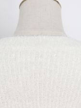 Boutique Solid Ruffled Crew Neck Sweater