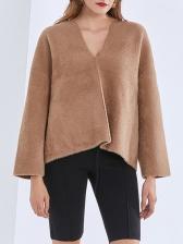 Solid Color Loose V Neck Sweater