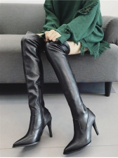 Pointed Toe Solid High Heel Thigh High Boots