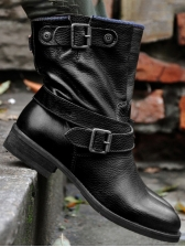 Retro Buckle Solid Ankle Womens Boots