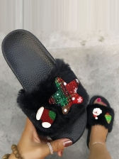 Christmas Faux Fur Round Toe Womens House Slippers
