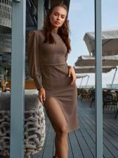 Mock Neck Slit Long Sleeve Dresses For Women