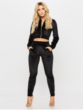 Leisure Solid Cropped Top Black Two Piece Set