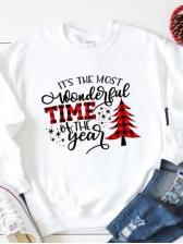 Christmas Print Letter Crew Neck Sweatshirt