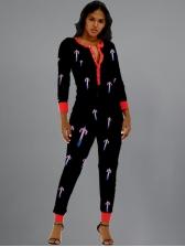 Print Skinny Slim Long Sleeve Jumpsuit Women