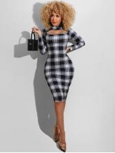Casual Slim Plaid Long Sleeve Bodycon Dress