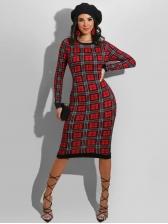 Plaid Package Buttocks Long Sleeve Dress