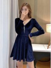 Sexy V Neck Patchwork Long Sleeve Dress