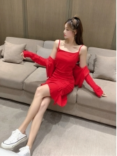 Sexy Ruffle Camisole Dress With Solid Coat