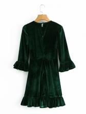 French Style Ruffle Long Sleeve Dress