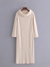 Vintage Solid Long Sleeve Midi Dress