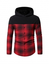 Contrast Color Plaid Patchwork Hoodie Men