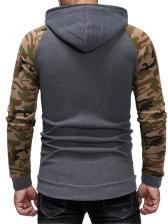 Fashion Camouflage Patchwork Hoodie Men