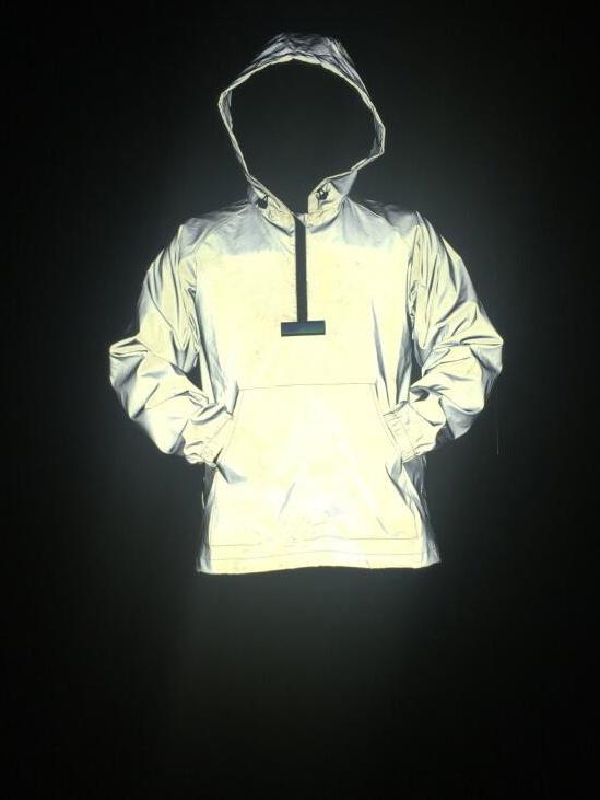 Half Zipper Pockets Loose Reflective Hoodie For Men
