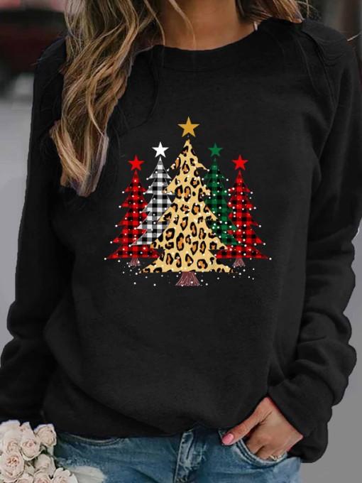 Christmas Tree Pattern Long Sleeve Crewneck Sweatshirt
