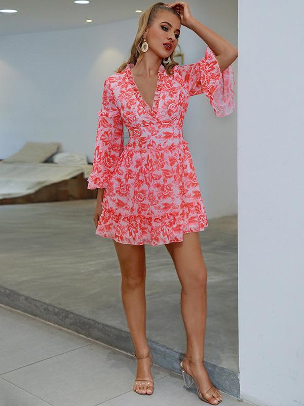 Sexy Holiday V Neck Flare Sleeve Summer Dresses