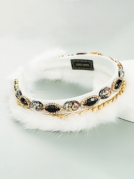 Fashion Create Rhinestone Plush Hair Hoop