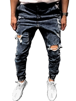Casual Mens Ripped Jeans Fall