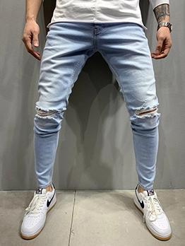 Casual Hole Denim Pants For Men