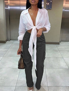 Turndown V Neck Tie Wrap Long Sleeve Blouse