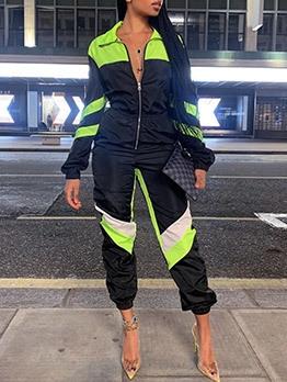 Contrast Color Zipper Up Sporty Jumpsuit For Women