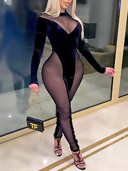Gauze Patchwork Long Sleeve Sexy Jumpsuit