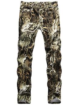 Hip Hop Snake Print Denim Pants