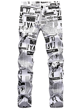 Street Newspaper Print Jeans Men