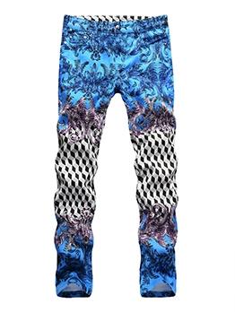 Vintage Contrast Color Denim Pants