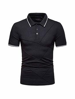 Fashion Patchwork Short Sleeve Polo Shirt