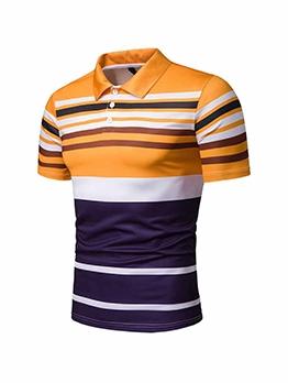 Casual Striped Mens Polo Shirts