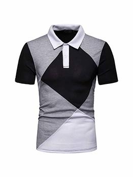 Contrast Color Short Sleeve Polo Shirt