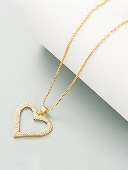 Simple Heart Shape Rhinestone Women Necklace