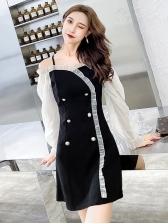 Stringy Selvedge Detail Contrast Color A-Line Dress