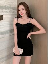 Spaghetti Strap Black Bodycon Mini Dress With Coat