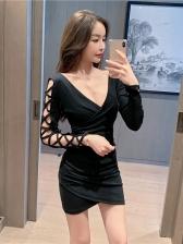 Deep V Neck Hollow Out Black Mini Dress Sexy