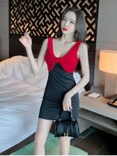 Deep V Neck Contrast Color Bow Decor Women Dress