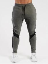 Colorblock Fleece Drawstring Sporty Pants For Men