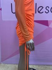 Chic Irregular Ruched One Sleeve Midi Dress