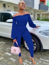 Pure Color Off The Shoulder Two Piece Outfits