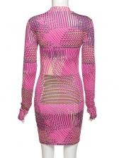 Simple Printed Mock Neck Long Sleeve Short Dress