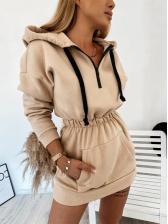Solid Elastic Waist Half Zip Hoodie Dress
