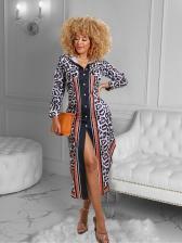 Leopard Print Button Up Long Sleeve Maxi Dress