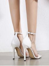 Square Toe Rivets Chain Decor Women Heel Sandal