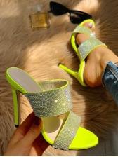 Rhinestone Round Toe High Heel Ladies Slippers