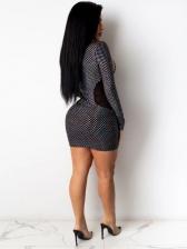 Gauze Patchwork Dots Bra Two Piece Dress