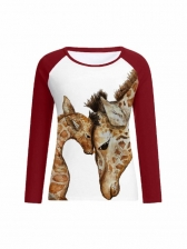 Giraffe Printed Women Long Sleeve Tee Shirts