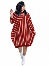 Euro Striped Loose Long Sleeve Dress Casual