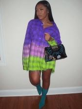 Color Block Button Down Long Sleeve Shirt Dress