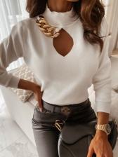 High Collar Keyhole Chain Patchwork Tee Shirts